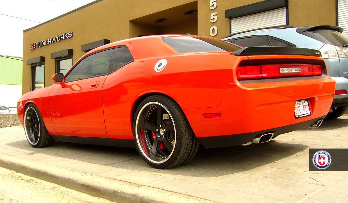 Orange Dodge Challenger With Rims